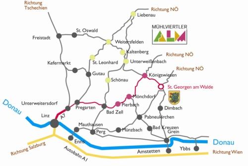 Anfahrt über die A7 Linz Richtung Pregarten - Bad Zell - Pierbach - Mönchdorf - Königswiesen - St. Georgen am Walde